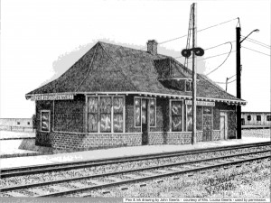 Pen & ink rendition of the Burlington Junction Station by the late John Geerts.