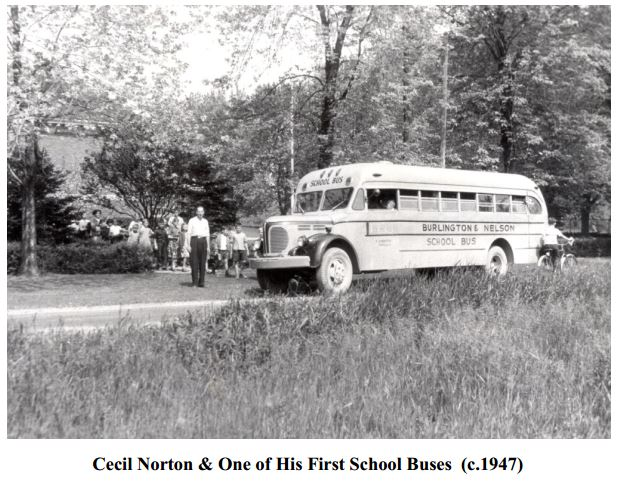 Cecil Norton and one of his first school buses - 1947